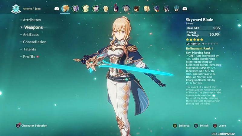 Jean with Skyward Blade (Image via Grunty Gaming, YouTube)