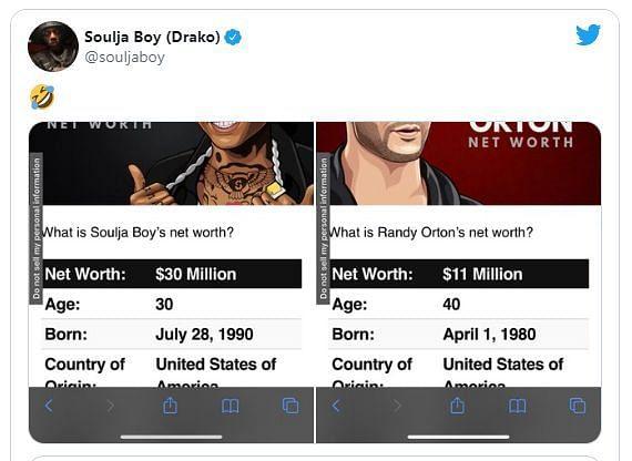Soulja Boy compares net worths with Orton