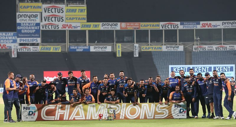 India after winning the ODI series against England