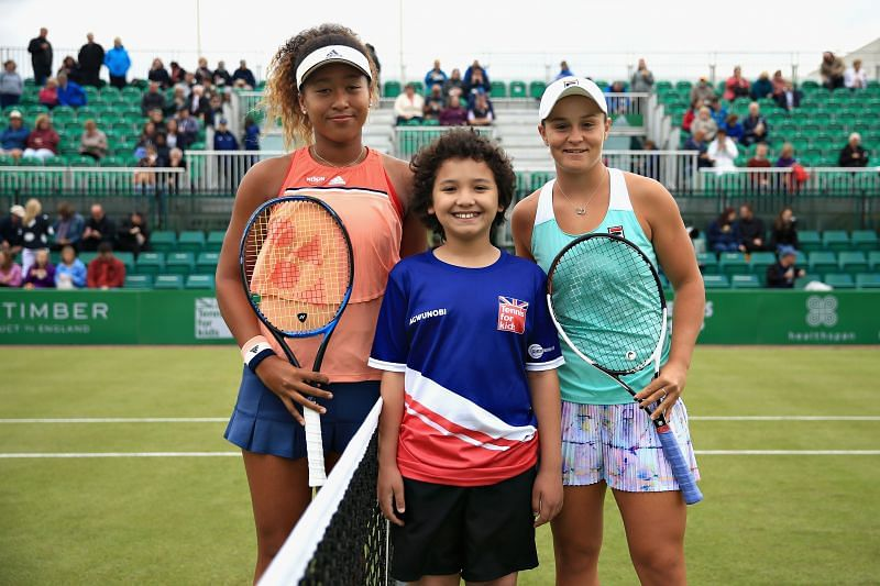Ashleigh Barty and Naomi Osaka at the Nature Valley Open in June 2018
