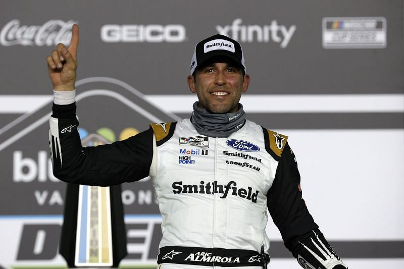 Aric Almirola after winning Duel #1 at Daytona (Photo by Chris Graythen/Getty Images)