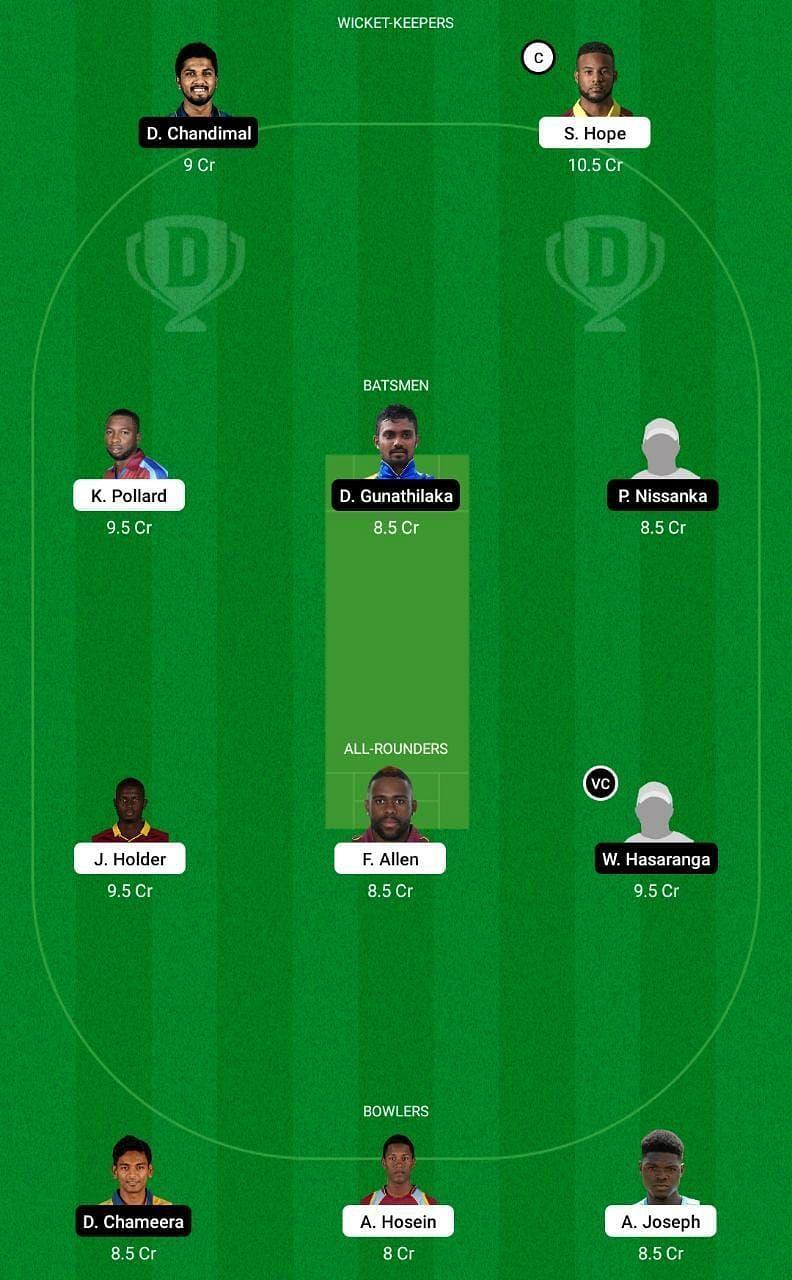 WI vs SL 2nd ODI Dream11 Tips