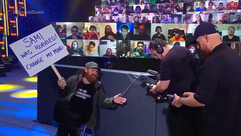 Sami Zayn filming his documentary on SmackDown