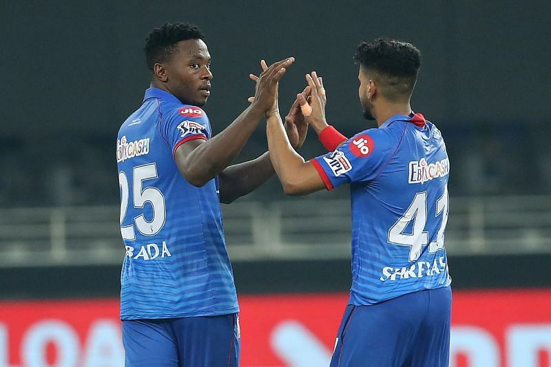 Rabada (left) bowled DC to a Super Over win over KXIP in IPL 2020. (Image Courtesy: IPLT20.com)