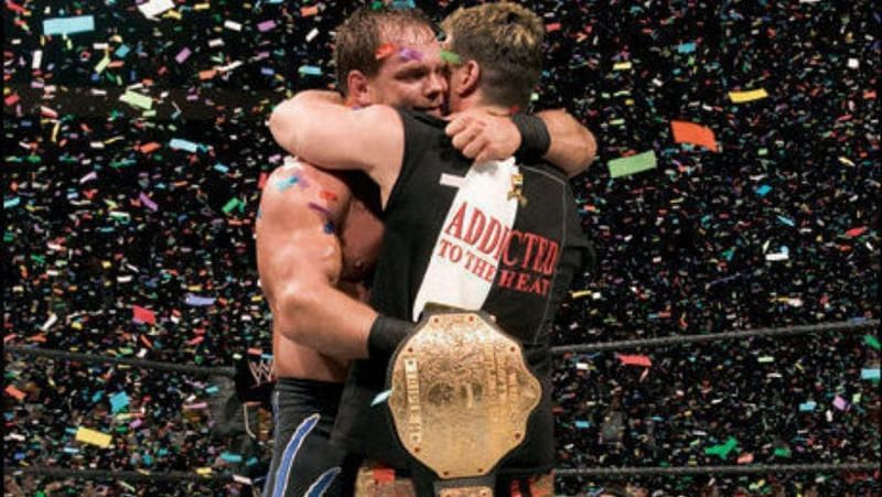 Chris Benoit hugging Eddie Guerrero