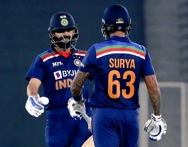 Virat Kohli and Suryakumar Yadav shared a crucial 49-run stand in the 5th T20I(PC:Twitter)