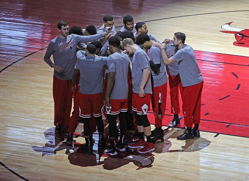Chicago Bulls huddle before the game against Philadelphia