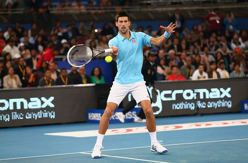 Novak Djokovic during the IPTL event at the Indira Gandhi Indoor Stadium, Delhi in December 2014