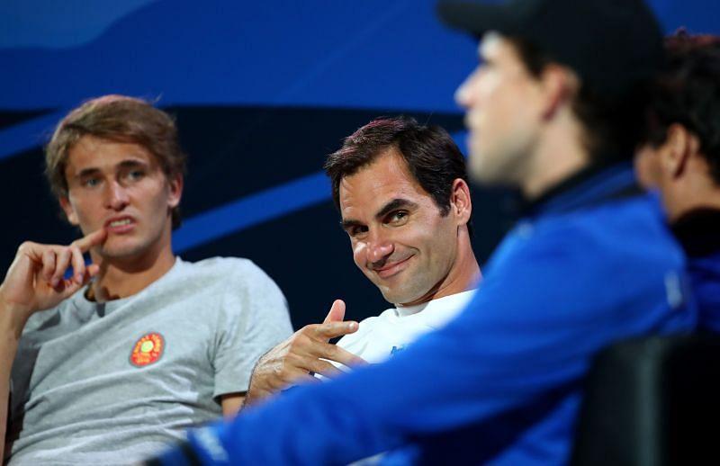 Alexander Zverev (L) and Roger Federer at the 2019 Laver Cup