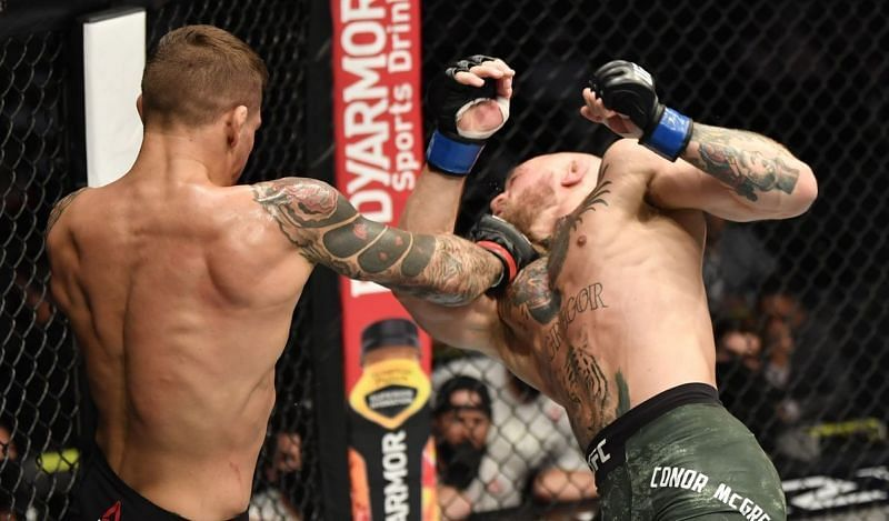 Dustin Poirier (left); Conor McGregor (right)