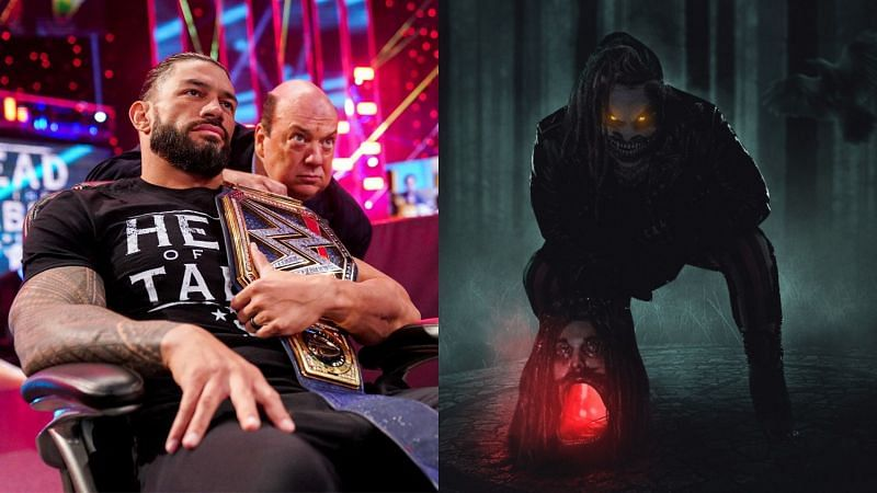 Roman Reigns and Paul Heyman (left); The Fiend (right)