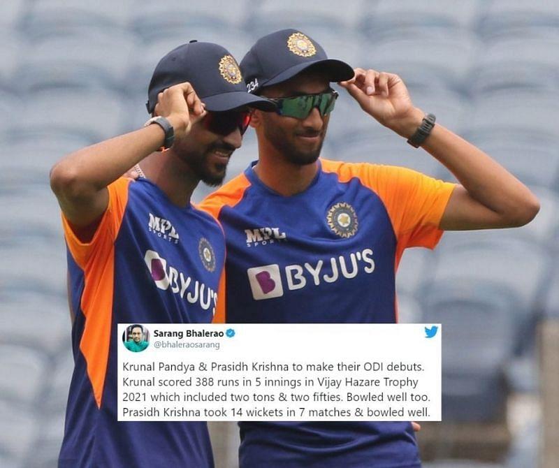 Krunal Pandya and Prasidh Krishna make their India debut
