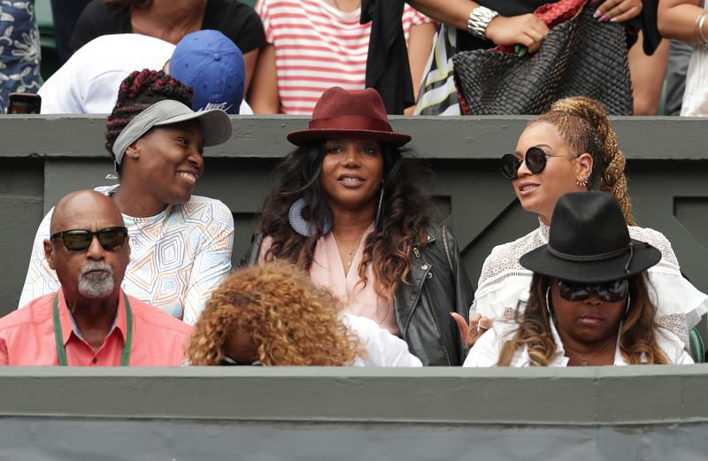 Venus Williams and Beyonce watch on as Serena Williams and Angelique Kerber play at Wimbledon 2016