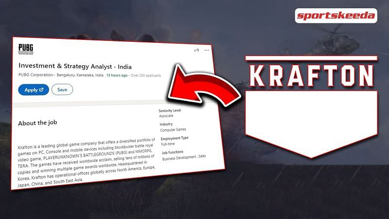 To being PUBG back, Krafton puts a job recruitment for investment and strategy analysts in India.