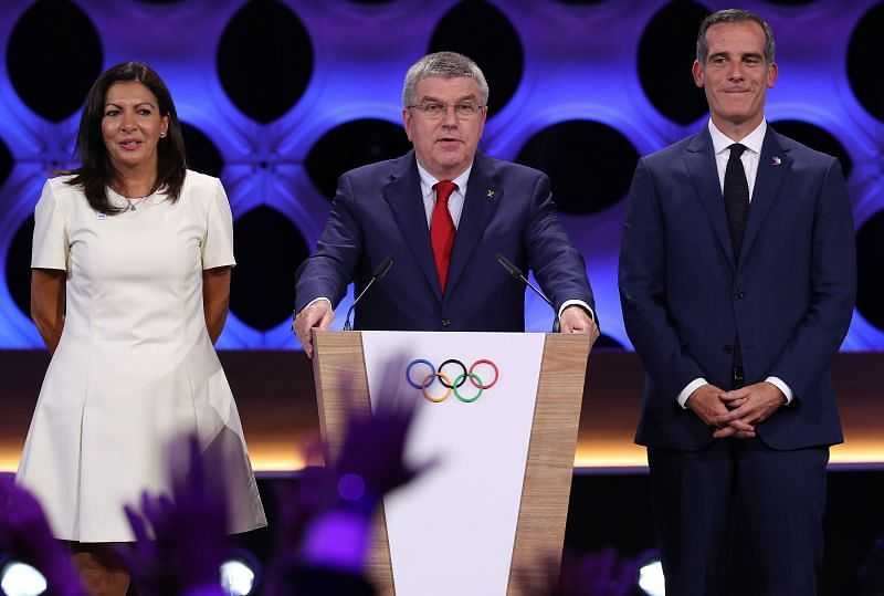Paris Mayor Anne Hidalgo, IOC President Thomas Bach, and Los Angeles Mayor Eric Garcetti during the announcement of the tripartite agreement which awarded Paris and Los Angeles with the Olympic Games of 2024 and 2028 during the 131st IOC Session in September 2017 in Lima, Peru