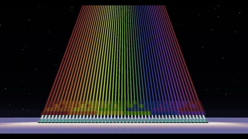 Colored Minecraft beacons (Image via YouTube)
