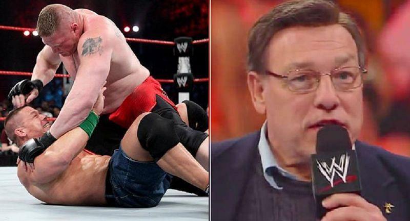 Brock Lesnar and John Cena; John Cena Sr.