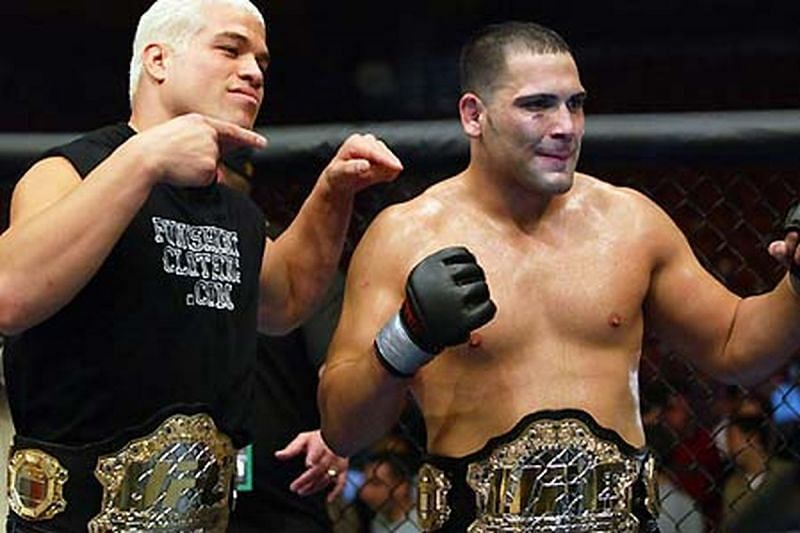 Ricco Rodriguez won the UFC Heavyweight title from Randy Couture in a tremendous battle.
