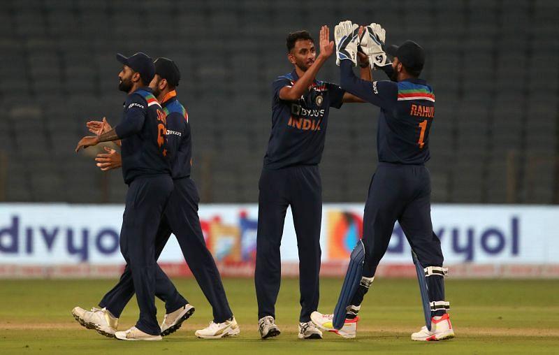 Prasidh Krishna celebrating a fall of a wicket.
