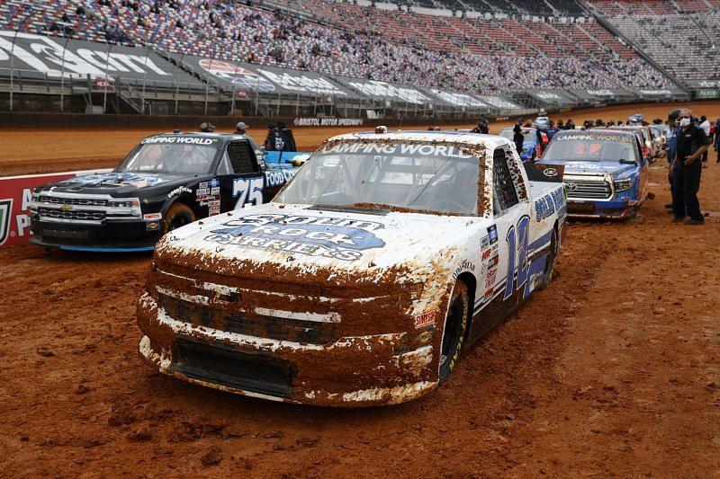 Mud covered trucks at Bristol Motor Speedway. Photo: Chris Graythen/Getty Images.