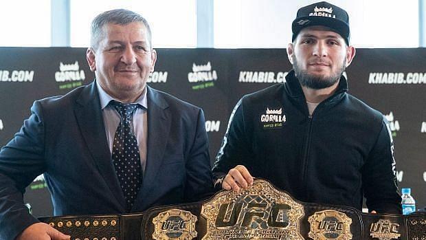 Abdulmanap Nurmagomedov with his Son Khabib Nurmagomedov
