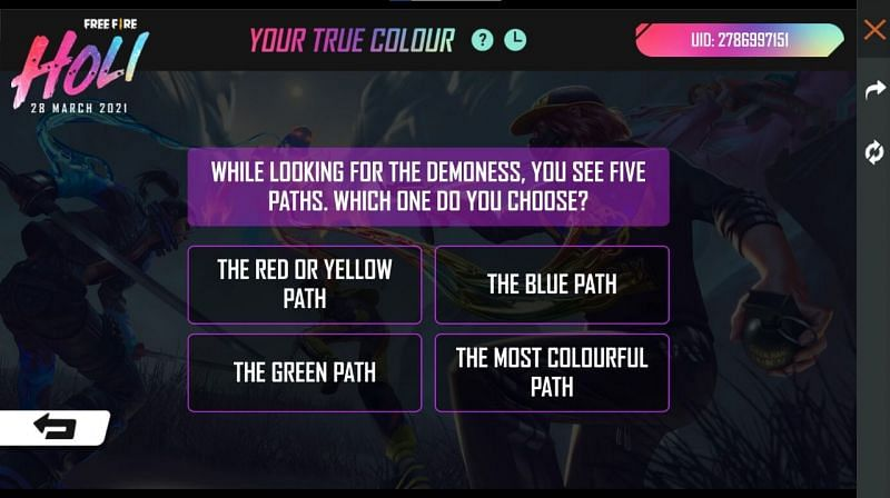 Players have to answer questions in the 'Your True Colour' event