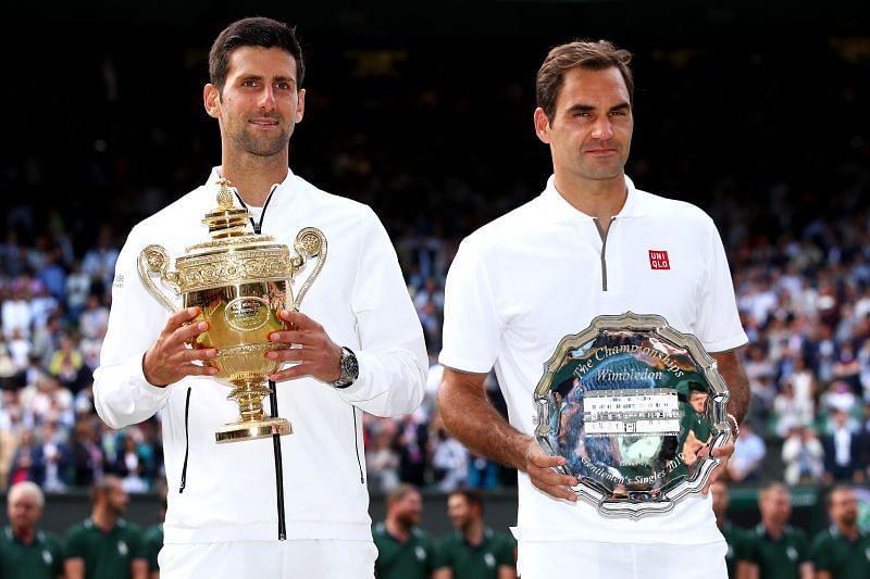 Novak Djokovic and Roger Federer at the 2019 Wimbledon trophy ceremony