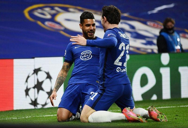 Emerson celebrates his Champions League goal for Chelsea