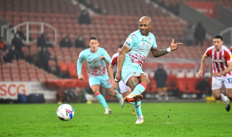 Andre Ayew scored an injury-time penalty to win Swansea their last match against Stoke City