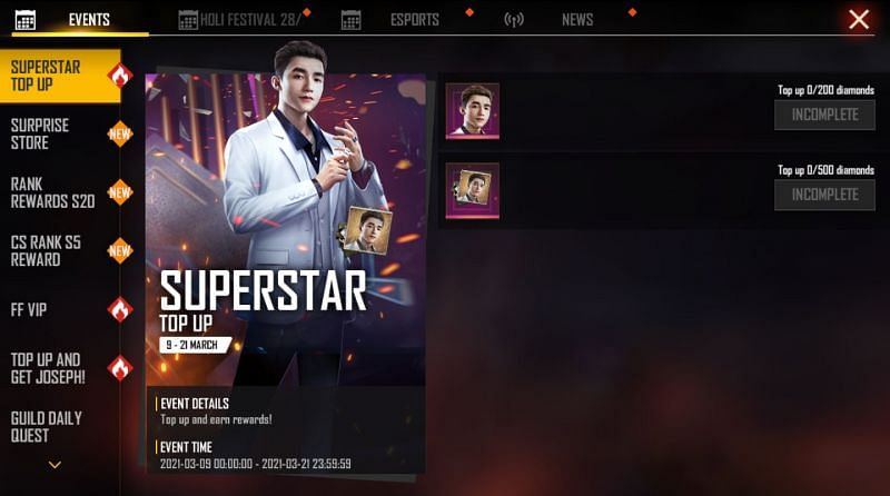 Evento de recarga de superstar no Free Fire