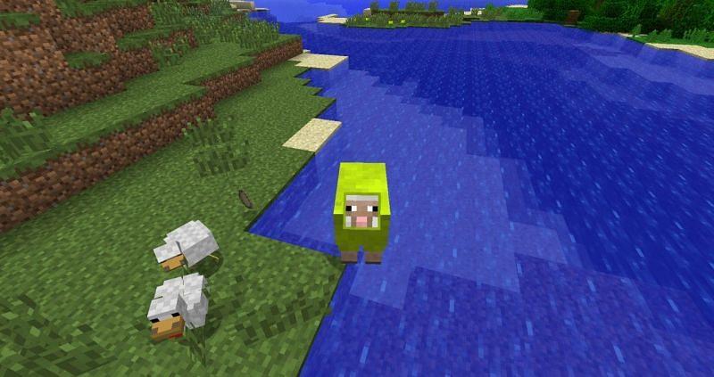 Lime green sheep (Image via planetminecraft)