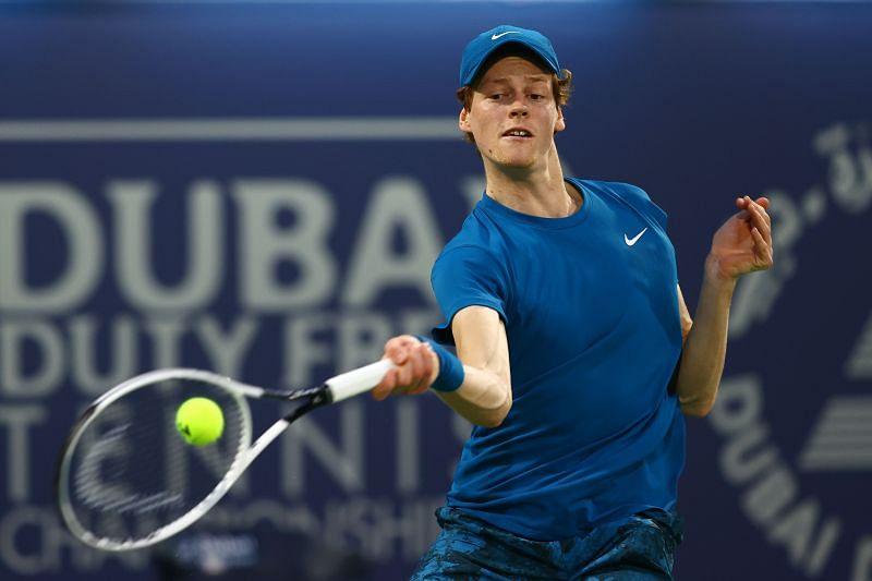 Jannik Sinner at the Dubai Tennis Championships 2021 earlier this month