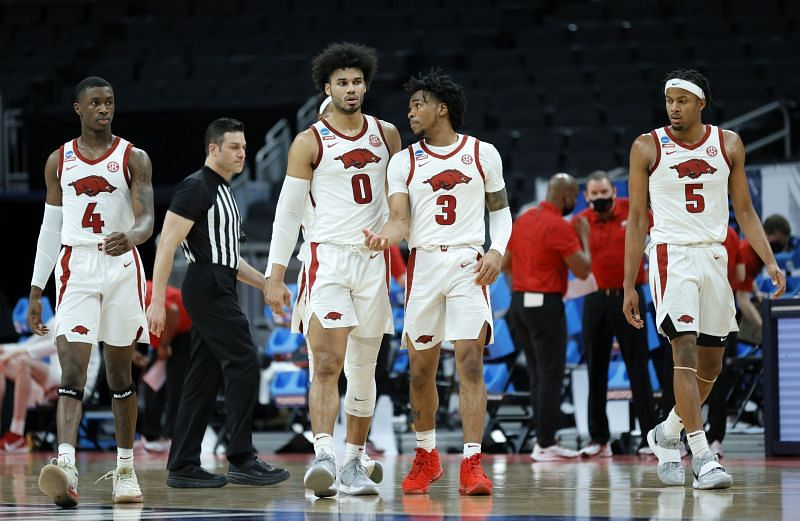 The Arkansas Razorbacks defeated Colgate in the first round of March Madness 2021