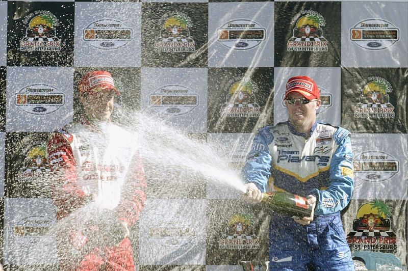 Paul Tracy (r) after the 2003 Grand Prix of St. Petersburg win, (Photo by Darrell Ingham/Getty Images).