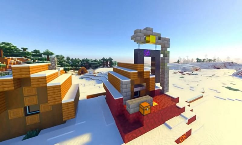 A broken ruined portal merged with the house of a villager in Minecraft (Image via Minecraft & Chill/YouTube)