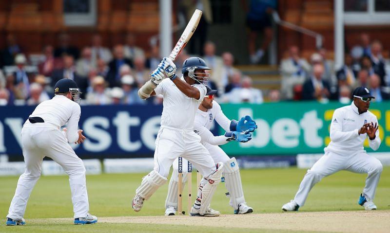 Sangakkara, here batting against England, scored a Double hundred which helped Sri Lanka win the second Asian Test Championship