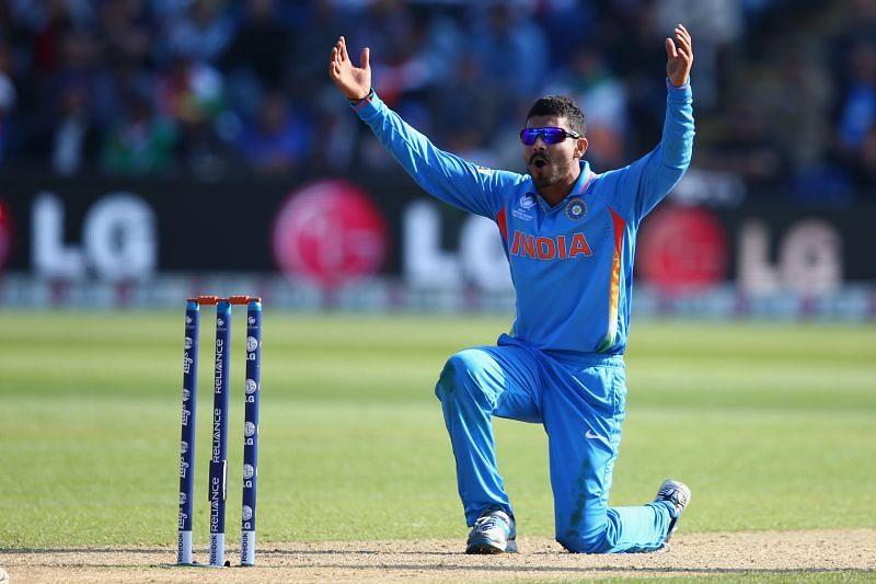 Ravindra Jadeja in T20 action for India