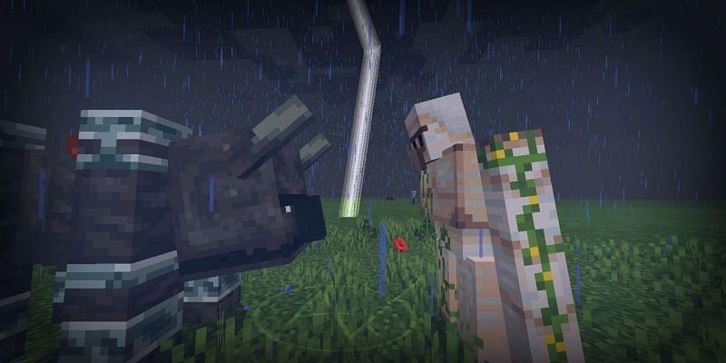 A staredown between a Ravager and an Iron Golem (Image via u/AVGwar on Reddit)