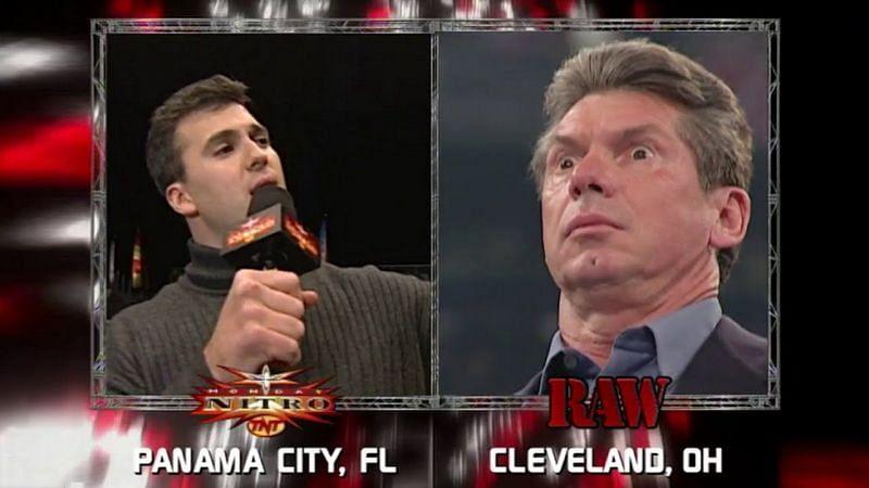 Shane McMahon on WCW Nitro (left); Vince McMahon on WWE RAW (right)