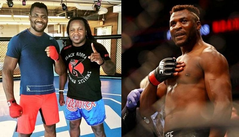 Francis Ngannou (left and right); Dewey Cooper (center)