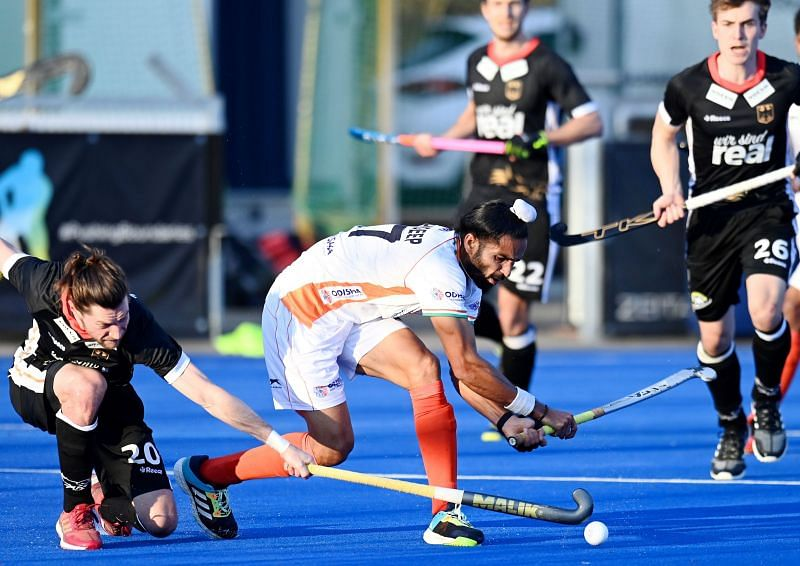 Akashdeep Singh in action against Belgium. (Source: Hockey India)