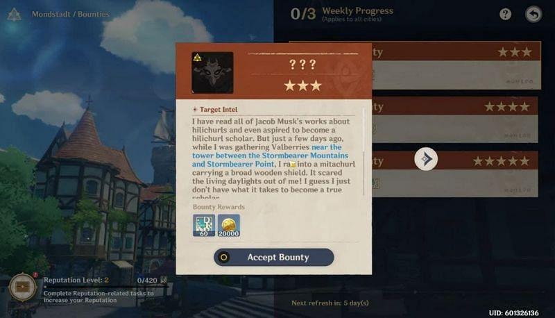The bounty page in Genshin Impact (Image via Eckogen, YouTube)