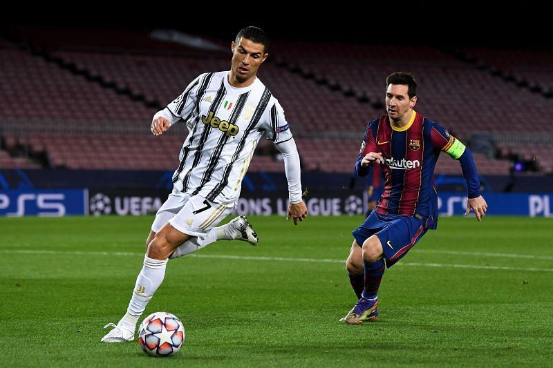Cristiano Ronaldo and Lionel Messi in action