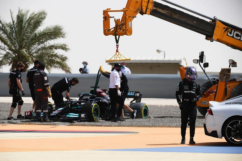 Lewis Hamilton beached the car at turn 13 on the second day. Photo: Clive Mason/Getty Images.
