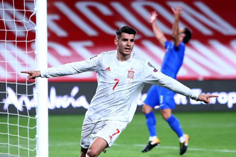 Alvaro Morata celebrates after scoring a sublime goal