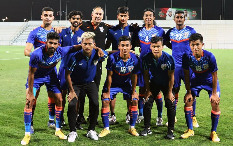 Indian football team take on UAE in the second international friendly in Dubai. (Image: AIFF)