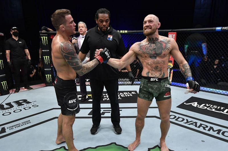 Dustin Poirier and Conor McGregor stand at 1-1