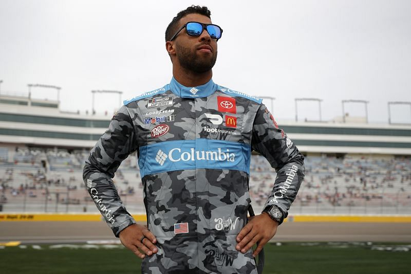 Bubba Wallace in his new attire before the Pennzoil 400. (Photo by Chris Graythen/Getty Images)