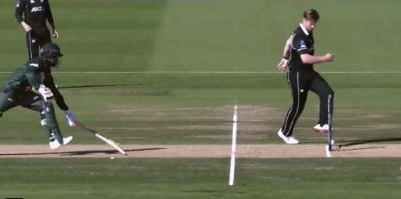 Jimmy Neesham ran out Tamim Iqbal with some smart footwork. Pic: Spark Sport