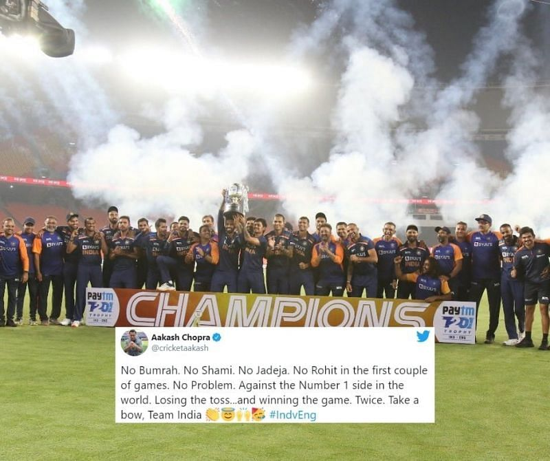 Team India celebrate after beating England 3-2 in the T20Is